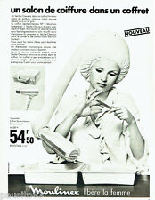 PUBLICITE ADVERTISING 026  1969  Moulinex  casque souple coffret sèche cheveux