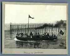 France, Dieppe, Bateau de promenade  Vintage silver print.  Tirage argentique