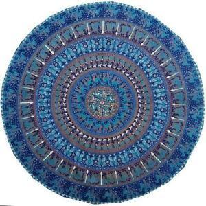 "Animal Print Mandala Big Roundies 72"" Inches Fabric Indian Yoga Mat Beautiful"