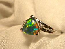 Opal Ring Ladies Sterling Silver 925 & CZ, 8x 8mm Trillion Triplet. item 070298.