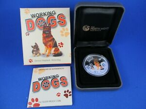 2011 TUVALU 1oz SILVER PROOF COIN - WORKING DOGS - GERMAN SHEPHERD - POLICE DOG.