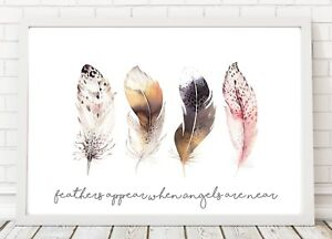 Feathers appear when Angels are near Print Poster A4 PO80