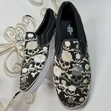 Black White Skulls Route 66 Slip On Style Mens Skater Shoes Size 13