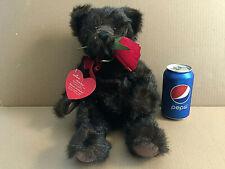"Hallmark Black Teddy Bear & Rose Stuffed Plush 15"""