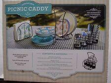 Wrought Iron 3pc Picnic Buffet Serving Caddy Set Napkin Holder Plates Silverware