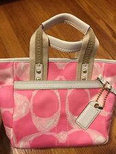 Authentic COACH Cream Pink Leather Canvas Hampton Tote Hand Bag Purse