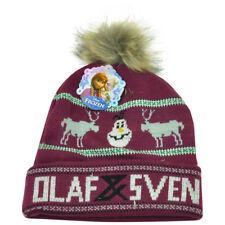 Disney Frozen Olaf Sven Plum Snowman Faux Fur Pom Knit Cuffed Beanie Hat Movie