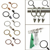 Strong Metal Window Curtain Rings Rod Pole Voile Net Hanging Hooks with Clips