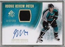 2007-08 UD SP Authentic Jonathan Cheechoo Rookie Review Patch Auto #'ed 072/100