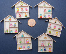 1:12 Scale 6 Assorted Clay Figures Fixed In A Wooden Frame Dolls House Accessory