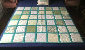 "Patchwork quilt throw mainly greens 52"" (132 cm) x 45"" (114 cm)"