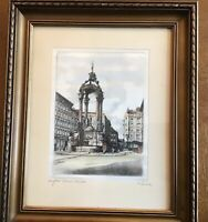 Vintage Austrian architectural colour etching on silk matted framed signed