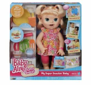 Baby Alive Snackin' Sara Blonde Doll New Box