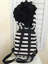 Authentic New BETSEY JOHNSON New York HOODIE BACKPACK BLACK WHITE STRIPS NWT