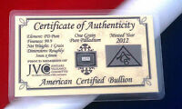 ACB SOLID Palladium BULLION MINTED 1GRAIN BAR 999 Pure W/ Certificate $