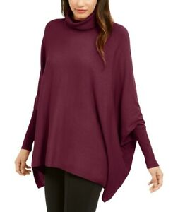 Alfani Womens Sweater Red Size XL Turtleneck Poncho Dolman Sleeve Solid $59 324