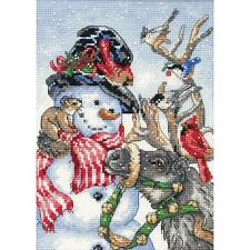 Counted Cross Stitch Kit SNOWMAN & REINDEER Christmas Dimensions Gold Collection
