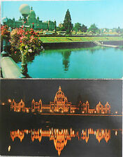 2 Vintage Postcards of the Parliament Buildings in VICTORIA, B.C. - Day/Night