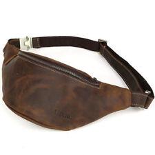 Men's Vintage Leather Waist Bag Security Pouch Sports Belt Bum bag