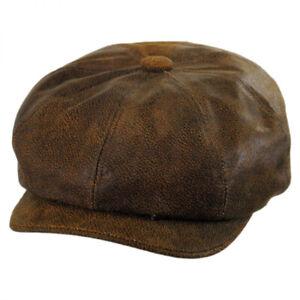 Jaxon Hats Leather Newsboy Cap