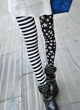 Ladies Stars & Stripes light leggings, 6-10 Black & White, stripey cute  motley