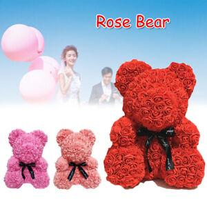 Valentine Rose Bear Simulation Foam Flower Gift Birthday Wedding Decor 25*16cm A