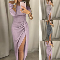 Women Off Shoulder High Slit Bodycon Long Sleeve Evening Party Long Maxi Dress A