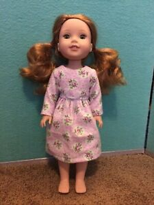 """Fit Wellie Wishers 14"""" Purple Roses NightGown American Girl doll clothes outfit"""