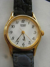 CITIZEN 6031,ANCIENNE MONTRE SEVENTIES ANGLAISE ULTRA PLATE DAME,bracelet croco