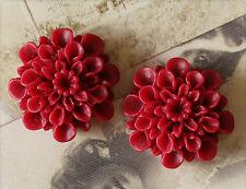 6x Resin Cabochons Blumen zum Kleben 22mm weinrot tm252