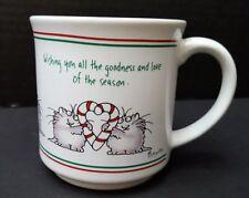 Sandra Boynton Coffee Mug WISHING YOU GOODNESS Christmas Cat CANDY CANE HEART