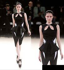 NWT Runway MUGLER Black Cut Out Peplum Sculptural Stretchy Wool Dress F36/S-M