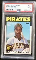 BARRY BONDS 1986 TOPPS TRADED ROOKIE #11T PSA 9 MINT  PIRATES CENTERED (469)