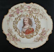 Limoges France Klingenberg Dwenger 8.5 Plate Regal Lady Portrait Gilded Overlay