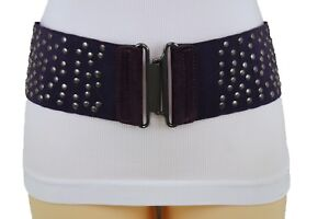 Women Purple Wide Belt Stretch Fabric High Waist Hip Metal Studs Buckle Size M L