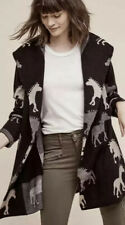 212. Field Flower Anthropologie Black tan Horse Print Cardigan Sweater S