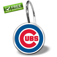 MLB Chicago Cubs 12-Piece Shower Curtain Ring Set Clips Hooks Drapery Fan Gift