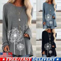Womens Dandelion Long Sleeve Loose Pullover Casual Tunic Sweateshirt Tops Blouse