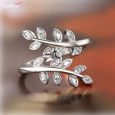 925 Sterling Silver Sparkling Crystal CZ Leaf Feather Wrap Ring Bridal Girls Q