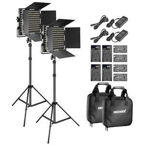 Neewer 2 Packs Bi-Color LED Video Light Studio YouTube Shooting Lighting Kit
