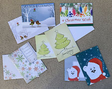 Lots of 5 Christmas holiday season' greeting cards w their specials Enve