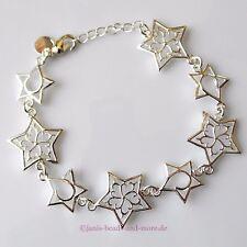Zauberhaftes filigranes Armband Sterne Design Silber beschichtet 18,5 - 21 cm