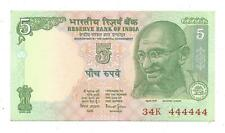 India Rs 5, Brilliant Uncirculated Note, Bimal Jalan, with solid Fancy No 444444