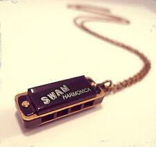 Vintage bronze harmonica necklace-antique Bijoux-kitsch décalé jewelry-long
