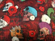 Punk and tartan day of the dead craft style Digital printed fabric by the metre