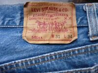 MENS PREOWNED LEVI JEANS  501  - W31  L34  - BUTTON FLY - DENIM  BLUE
