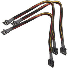 """3x 12"""" 4 Pin Floppy Drive Power Extension Cable Black Sleeving PC Computer FDD"""