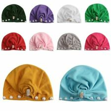 Baby Girl Boy Toddler Warm Beanie Hat Pearl Knotted Cap Kids Cotton Head Wrap