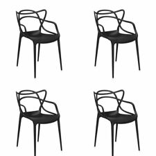Set of 4 Dining Chairs Kartell Philippe Starck Inspired Masters Chairs Black