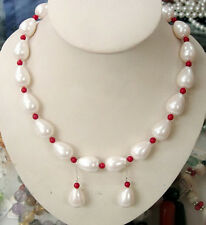 White South Sea Shell Pearl Drop Red Coral Women Party Necklace Earrings Set
